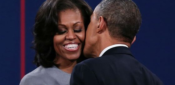 Michelle Receives Kiss from Barack